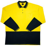 ELLUSION LONG SLEEVE HI-VIS POLO SHIRT-workwear-KINGSIZE BIG & TALL